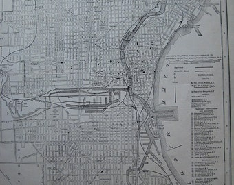 Antique 1924 City Map of Milwaukee, Wisconsin. FREE U.S. SHIPPING