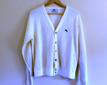 PREVIOUSLY 33.00 - 60s Long Slouchy Cream Boyfriend Cardigan - Size L or One Size