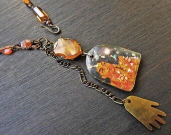 "Orange necklace, mixed media assemblage art jewelry- ""Hamsa"""