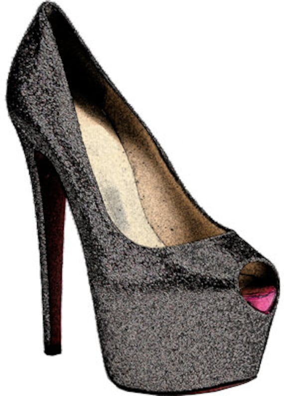 black glitter high heel shoe clip art png clipart digital image download graphics printables womens fashion  scrapbooking crafts