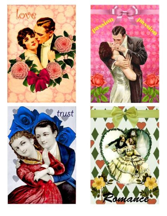 "VINTAGE Romance COUPLES - Printable Digital Collage Sheet 3.5"" x 5"" Ephemera love Valentine greeting cards, scrapbooking"
