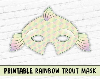 Rainbow Trout Mask   Fish Halloween Mask   Photo Prop   Printable Party Mask