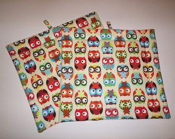 Set of 2 Potholders in Timeless Treasures Owl Fabric.