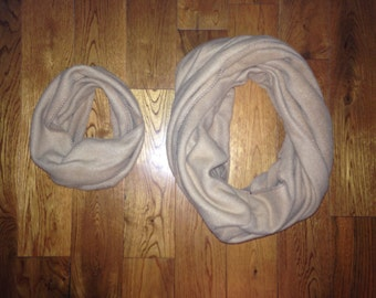 Mommie and Me Tan Fleece Infinity Scarf Set