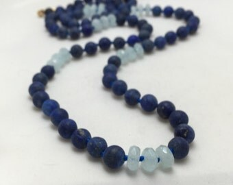 Matte Lapis,Faceted Aquamarine, and 18k Gold Filled Hand Knotted Long Necklace