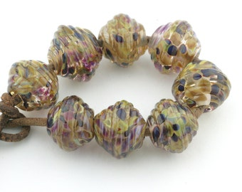Ribbed Bicone Earth Tones Handmade Glass Lampwork Beads (8 count) by Pink Beach Studios - SRA (1245)