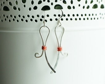 Sterling Silver Ribbon Earrings with Orange Wire Tie