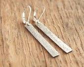 Sterling silver bar earrings - silver lever back earrings - sterling silver oxidized earrings - hammered silver dangle earrings