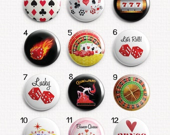 "Casino Gaming Bunco 1"" Magnets for Magnetic Jewelry or use as Refrigerator Magnets - Choose One"