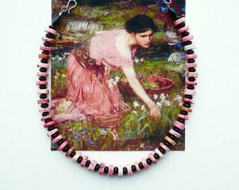 PINKS Stone Choker, Pink and Black Necklace, Urban Chic Choker, Modern Choker, Magnesite Onyx Choker