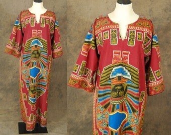 CLEARANCE Sale vintage 70s Dashiki Caftan - Tribal African Warrior Maxi Dress 1970s Boho Hippie Dress Lounge Wear L XL