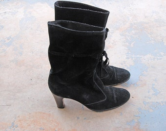 vintage 70s Boots - 1970s Black Suede Drawstring Boots - High Heel Leather Ankle Boots Sz 8 39
