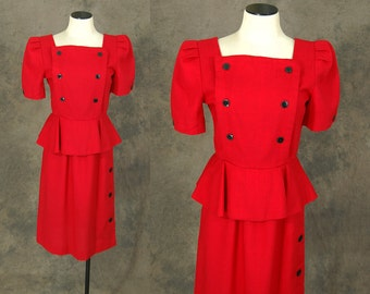 vintage 80s Peplum Dress - 1980s does the 40s Red Wiggle Dress Sz S