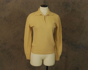 vintage 50s Sweater - 1950s Angora Wool Polo Sweater Beige Collared Sweater SZ S