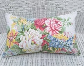 Rose Shabby Chic Pillow, Rose Pillows, Floral Print Pillow, White Pink Blue Cushion, Vintage Floral Pillow, Girlfriend Gift, 12x20, 20x20