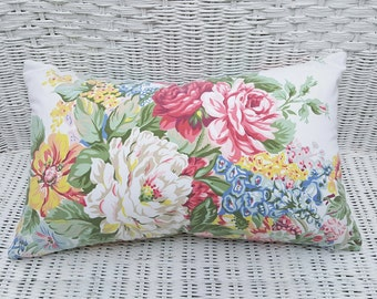 Shabby Chic Floral Cushions, English Country Pillows, Colorful Floral Pillows, Beach House Decor, Eco Friendly Lumbar Pillow 12x20, NEW