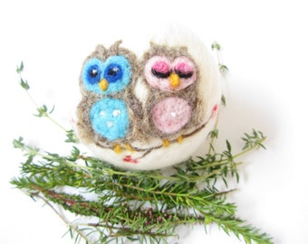 Owl,Owl Ornament,Needle felted animal,Felted bauble,Felt Christmas ornament,Ready to Send
