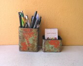 Desktop Accessories, Industrial pencil cup card holder, metal office organizers, Industrial orange green desk set, office home accent piece