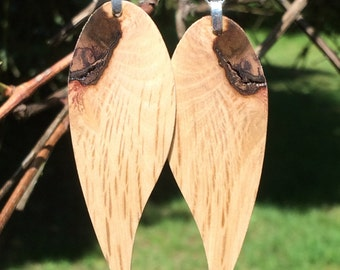 Angel Wing Bird Feather Lightweight Large Wood Earrings California Live Oak