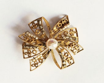 Vintage Miriam Haskell Faux Pearl and Rhinestone Bow Brooch Signed