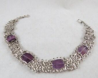 Silver Bracelet with Purple Glass beads