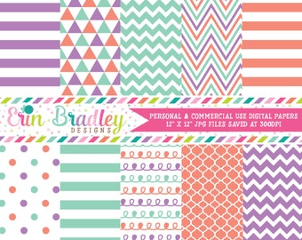 Digital Paper Pack in Purple Orange & Aqua Blue Stripes Doodles Triangles Chevron Polka Dotted Patterns Commercial Use