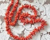 """Vintage Mediterranean Red Coral Branch Necklace 22"""""""