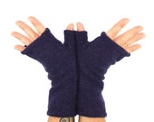 Fingerless Gloves in Twilight Purple Cashmere - Upcycled Wool