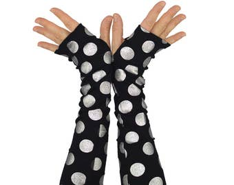 Arm Warmers in Black and Silver Polkadots - Silver Little Bombs - Fingerless Gloves