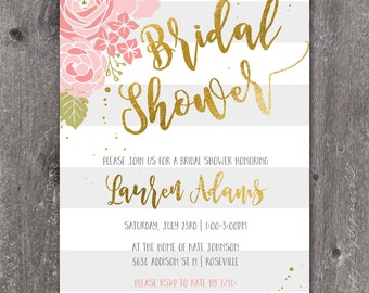 Bold Stripe - Custom Digital Wedding Shower Invitation Bridal Shower