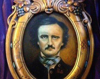 Edgar Allan Poe Original Oil Painting in Antique Gothic Angel Frame