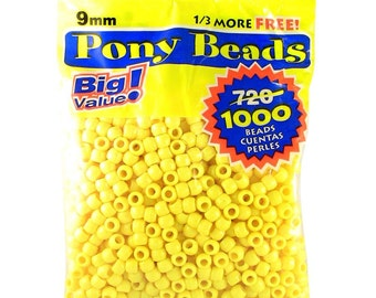 9mm Pony Beads Opaque Yellow 1000 Pieces Acrylic Beads