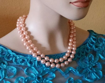 Vintage, 1960's, Peachy, Faux Pearls, Glass Beaded, Long Necklace, Excellent Condition