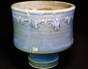 Pottery Cup - Blue Ceramic Drinking Cup - Tea Bowl - Teabowl - In Stock