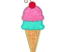 SALE 65% off Applique Ice Cream Cone Double Scoop and Cherry Machine Embroidery Designs 4x4 & 5x7 Instant Download Sale
