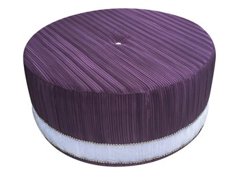 Round Ottoman Upholstered Ottoman Purple Ottoman Living Room Coffee Table  Stool Round Stool Custom Made Ottoman