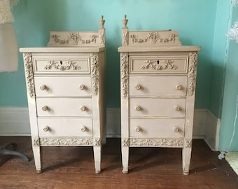 OMG french shabby chic nightstand pair ivory distressed