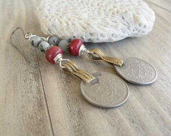 Persian Mint Earrings, Tribal Metalwork and Kiwi Jasper Dangles, Long, Coin Earrings, Red