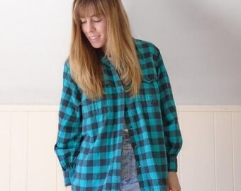 extra 30% off SALE ... Green Buffalo Plaid Flannel Button DOWN Grunge LS Shirt - Vintage 80s - S M