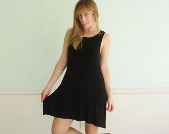 30% off ... Little Black Mini Dress - Vintage 90s BCBG - SMALL S - Circle Shift Dress