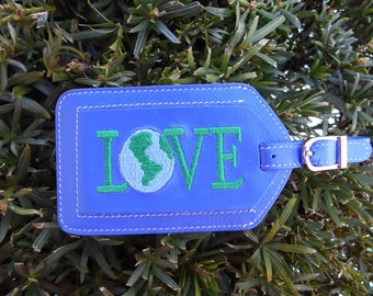 Leather Luggage Tag Earth Love