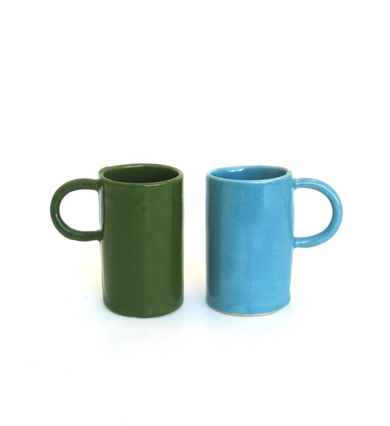 two colorful porcelain hand built cups.   drinks for 2.   demitasse.   espresso.