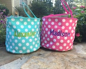Turquoise Blue Polka Bucket with personalization.  Easter Tote.  Monogrammed Easter Basket.