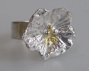 Silver flower wide band ring size P/73/4