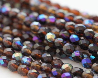 Czech Glass Faceted Round Topaz Beads Fire Polished FP 6mm (25)