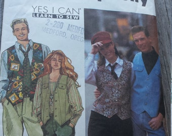 Simplicity Pattern 8569 Unisex Hat, Tie and Vest, Sizes S to MEDIUM, Uncut