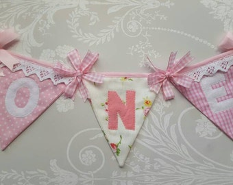 Pretty Pinks High Chair Banner Bunting with age years Handmade Fabric ideal for a Birthday Party or Photo prop Custom Made to order