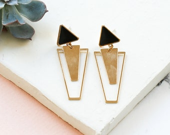 Morrison Earrings, Post Earrings, Triangle Earrings, Dangle Earrings, Black Earrings, Golden Earrings, Silver Earrings, Geometric Earrings