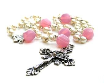 Catholic Rosary, White Pearl Rosary,  Prayer Beads,  Catholic Gift, Pink Opal, Silver Crucifix
