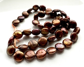 Chocolate Brown Freshwater Coin Pearls - 8.5 to 9mm
